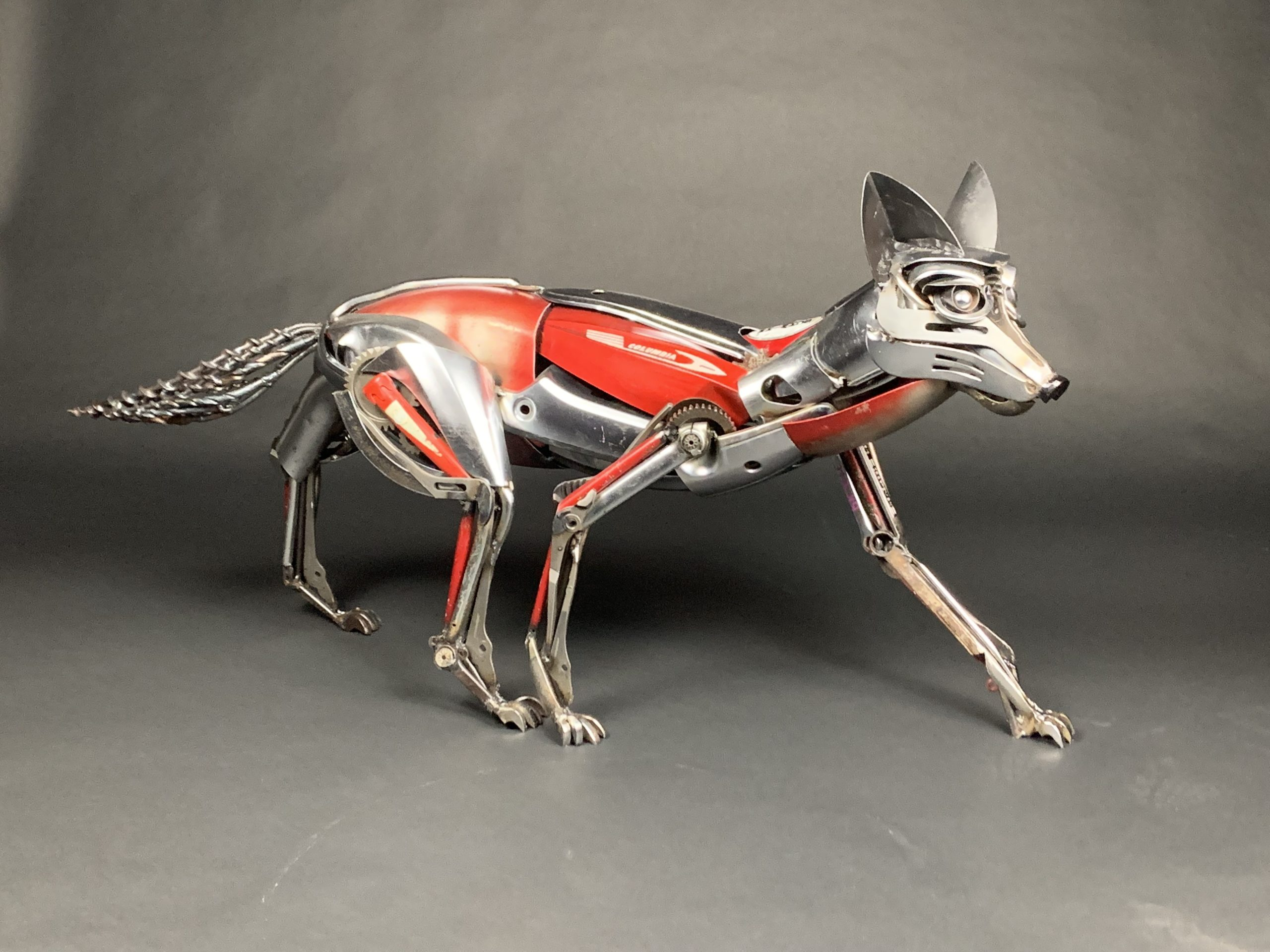 Selena Orlean the Fox - welded steel and found object sculpture by Jud Turner, copyright 2020