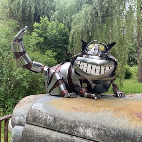 Cheshire Cat sculpture by Jud Turner, copyright 2020