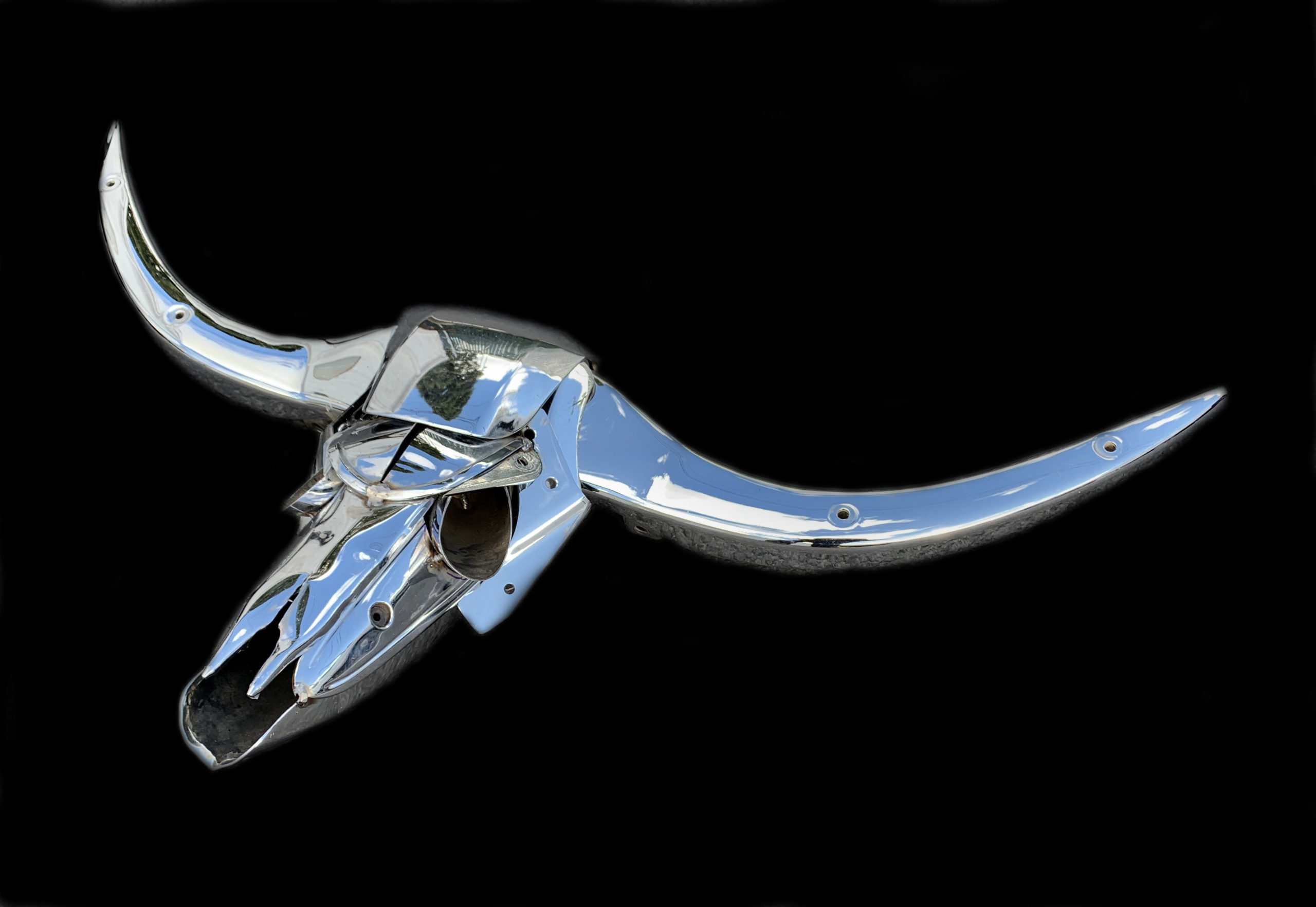 """""""Buchis the Bull"""" - welded steel and found object sculpture by Jud Turner, copyright 2020"""