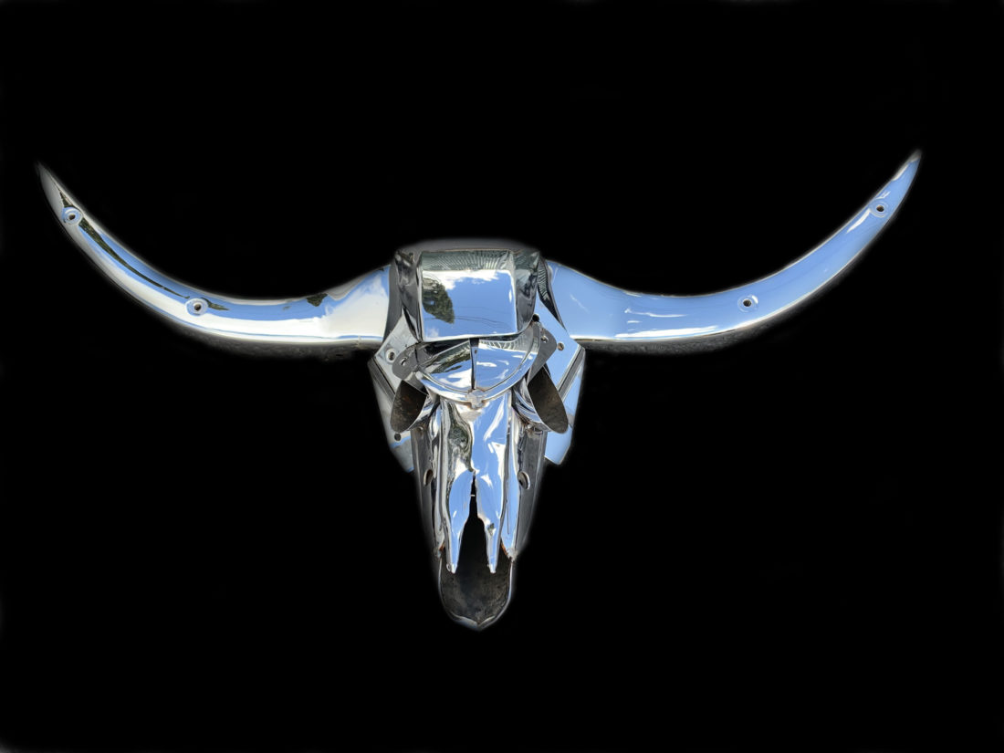"""Buchis the Bull"" - found object and welded steel sculpture by Jud Turner, copyright 2020"