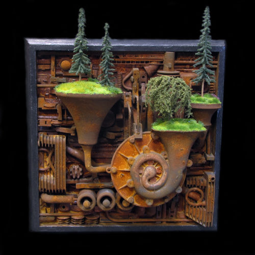 """""""Cacophony"""" - mixed media assemblage by Jud Turner, copyright 2020"""