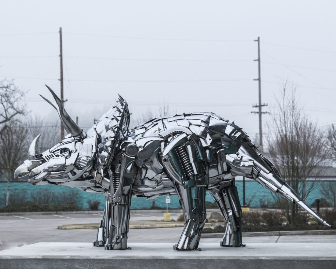 Tricerahops sculpture at Ninkasi Brewing Company in Eugene, OR