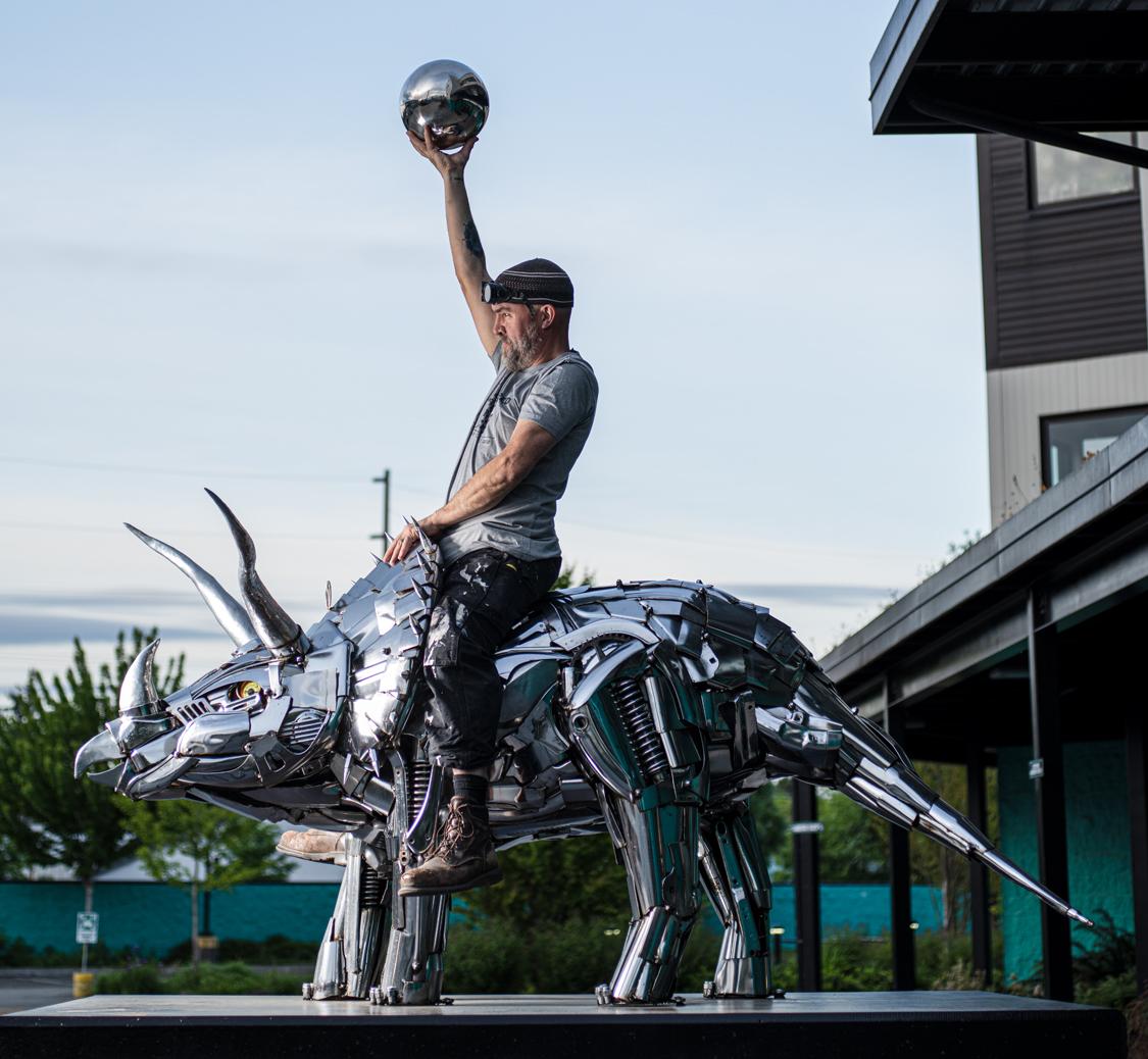 Tricerahops sculpture at Ninkasi, ridden by Jud Turner